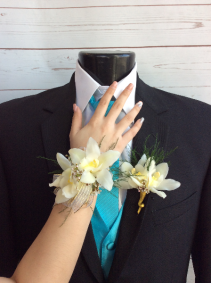 Orchid (White) Wrist Corsage & Boutonniere Pair