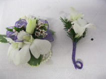 Orchid Wristlet with boutonniere Prom