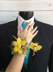 Orchid (Yellow) Single Blooms Wrist Corsage & Boutonniere Pair