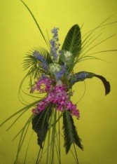 Tropical Orchids, Delphinium & Sago Palm ve-114