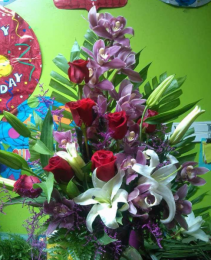orchids and lilys anniversary flowers