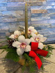 Orchids' Centrepice with a candle