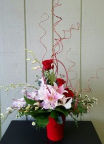 Orchids with mix flowers Valentine's Day
