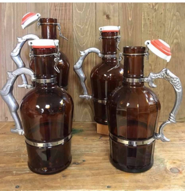 Ornate Glass Beer Growler