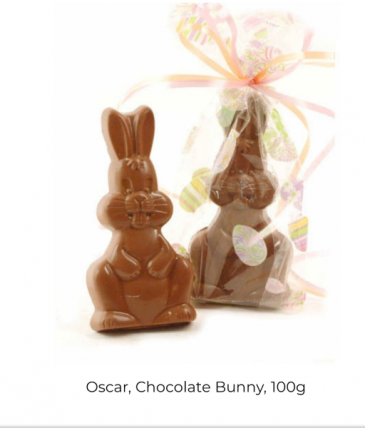 Oscar bunnie with solid chocolate eggs