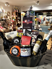 OUR MOST POPULAR  GOURMET BASKET W/ 2 BOTTLES OF WINE