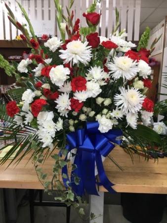 Our Country Splendor Sympathy Urn of Funeral Flowers