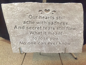 Our Hearts Still Ache, large stone w/stand  in Rensselaer, IN | JORDAN'S