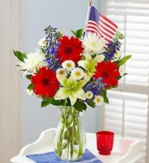 Our Red, White and Blue Tribute Arrangement with a Flag