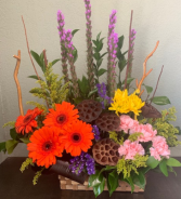 OUT OF THE WOODS FLOWER BASKET ELEGANT MIXTURE OF FLOWERS