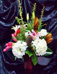 Winter in the Woods! Hydrangea, Tulips and Lilies with Magnolia in Gainesville, FL | PRANGE'S FLORIST