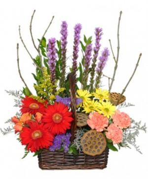 Out Of The Woods Flower Basket in Oakland, ME | VISIONS FLOWERS & BRIDAL DESIGNS