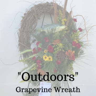 """""""Outdoors""""  Grapevine Wreath"""