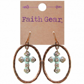 Oval Crossses Ear Rings