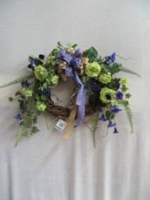 Oval Purple and Green Silk Wreath 6 Silk  Wreath
