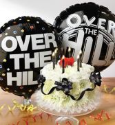 Over the Hill Cake and Balloons