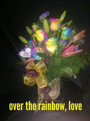 over the rainbow, love rainbow rose arrangement in Sentinel, OK | JJ GIFT SHOP