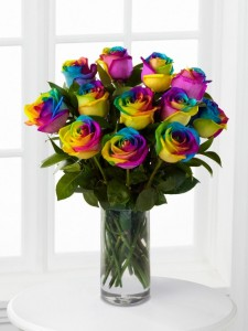 Over the Rainbow Roses  Wrapped or Arranged in Wilton, NH | WORKS OF HEART FLOWERS