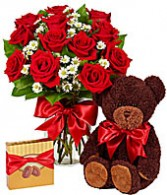 Over the Top !! Roses, Chocolate , and Bear