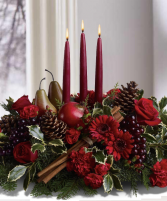 Overflowing Christmas Christmas table arrangement.
