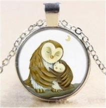 Owl always Love You #14 18 inch silver plated necklace