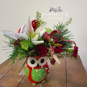Owl Be Home For Christmas Arrangement