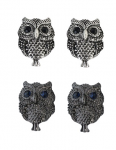 Owl Earrings, silver or black pair