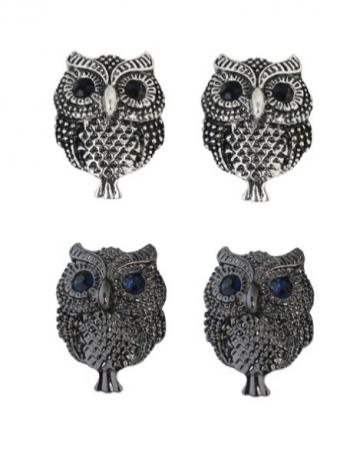 Owl Earrings, silver or black pair