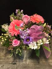 Pail Of Blushing Posies Fresh Flower Arrangement