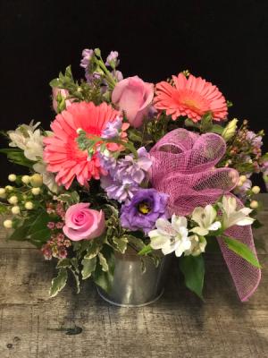 Pail Of Blushing Posies Fresh Flower Arrangement in Key West, FL | Petals & Vines