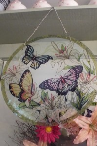"""Painted Butterfly $40.00 Glass 15"""" round"""