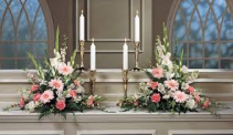 PAIR OF PINK & WHITE ALTAR ARRANGEMENTS