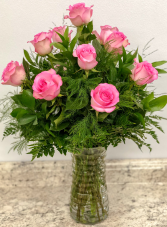 One Dozen Pink  Rose Arrangement