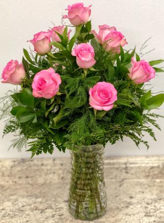 One Dozen Pink  Rose Arrangement