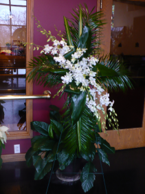 "Palm Cross With Orchids Shown $175.00 Overall 72"" tall"