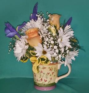 Pamelaès Mug Flower Arrangement in Langford, BC | PETALS N BUDS METCHOSIN FLORIST