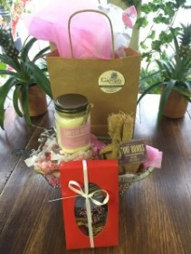 Pamper Me Package Bath Bomb, Candle, and Box of Gourmet Chocolates Availalbe at the Checkout