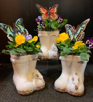 Pansy Boots   in Fowlerville, MI | ALETA'S FLOWER SHOP
