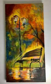 Park Bench in Autumn  Acrylic Painting on Canvas