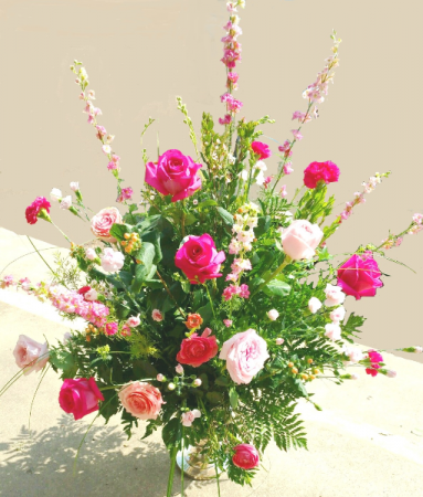 Pink Passing Urn Arrangement