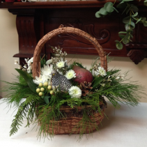 Partridge Basket Red Christmas