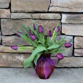 Passion Purple Tulips Vase Arrangement
