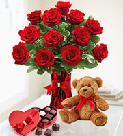 Passionate Love Dozen Rose's, Chocolate and Bear