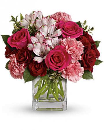 Passionate Pink Cube Fresh Arrangement