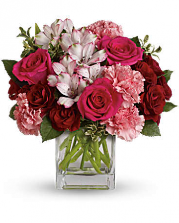 Passionate Pink Cube Fresh Arrangement