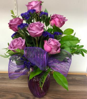 Passionate Purple 1/2 dozen purple roses
