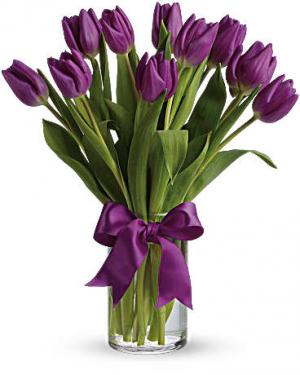 Passionate Purple Tulips Bouquet in Jasper, TX | BOBBIE'S BOKAY FLORIST