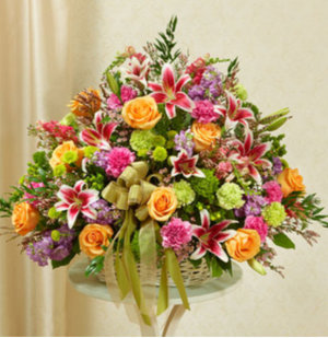 Pastel Basket Sympathy Arrangement in Croton On Hudson, NY | Cooke's Little Shoppe Of Flowers