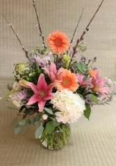 Pastel Beauty Soft colored flowers in vase.
