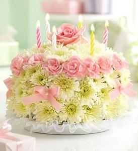 Pastel Cake Birthday Flowers
